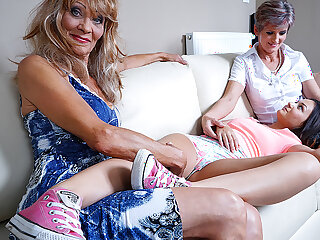 Three Naughty Old And Young Lesbians Lick And Get Wet - MatureNL